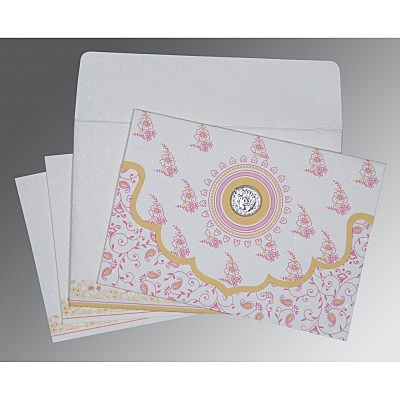 Ivory Handmade Silk Screen Printed Wedding Invitation : AS-8207I - IndianWeddingCards