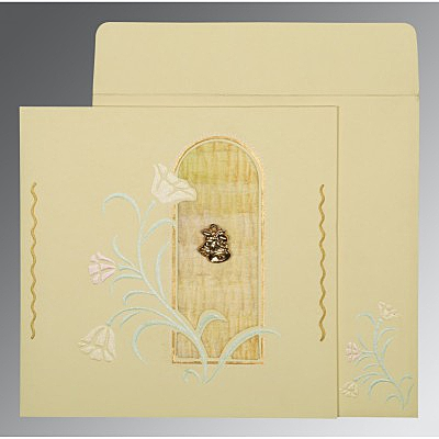 Ivory Matte Embossed Wedding Invitations : AC-1203 - A2zWeddingCards