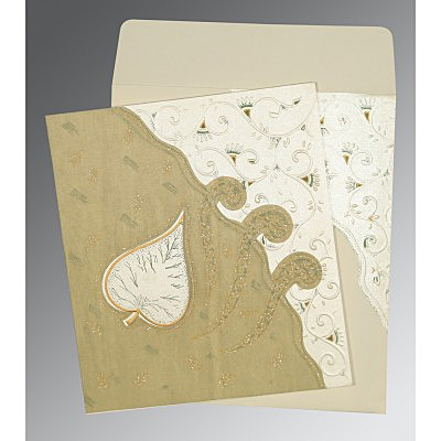 Ivory Matte Embossed Wedding Invitations : AD-1197 - A2zWeddingCards