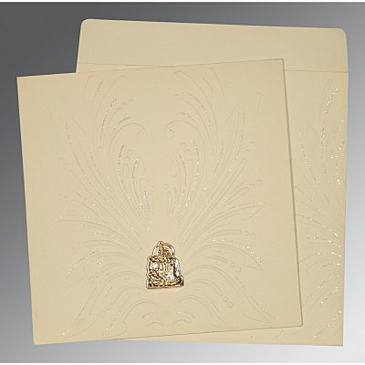 Ivory Matte Embossed Wedding Invitation : AG-1188 - A2zWeddingCards