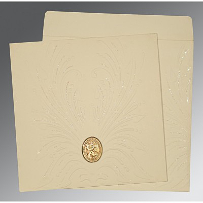 Ivory Matte Embossed Wedding Invitation : AI-1188 - A2zWeddingCards