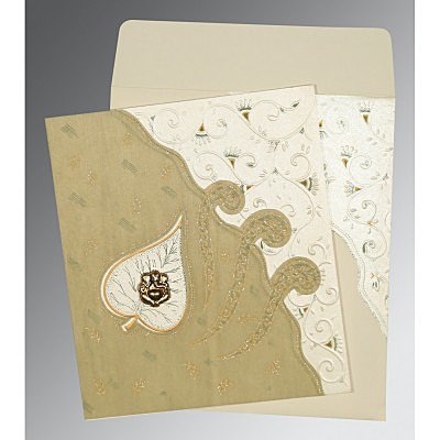 Ivory Matte Embossed Wedding Invitation : AIN-1197