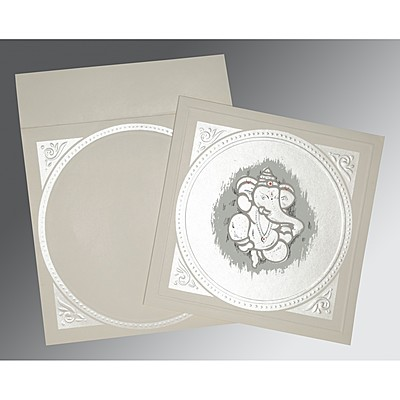 Ivory Matte Embossed Wedding Invitations : AIN-2015 - A2zWeddingCards