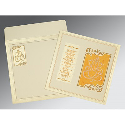 Ivory Matte Embossed Wedding Invitations : AIN-2113 - A2zWeddingCards