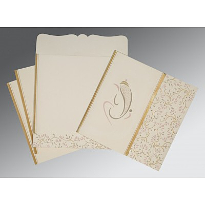 Ivory Matte Embossed Wedding Invitation : AIN-2153