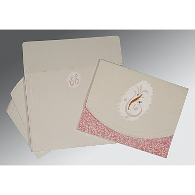 Ivory Matte Embossed Wedding Invitations : AIN-2163 - A2zWeddingCards