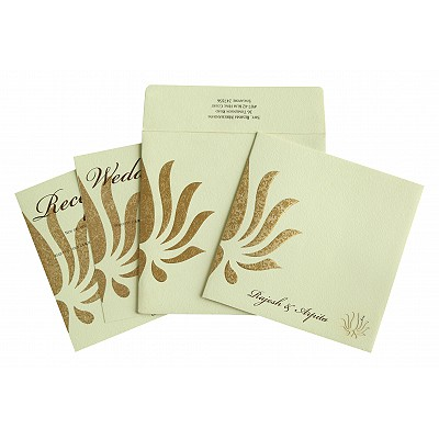 Ivory Matte Embossed Wedding Invitations : ARU-1738 - A2zWeddingCards