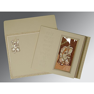 Ivory Matte Embossed Wedding Invitations : AW-2005 - A2zWeddingCards