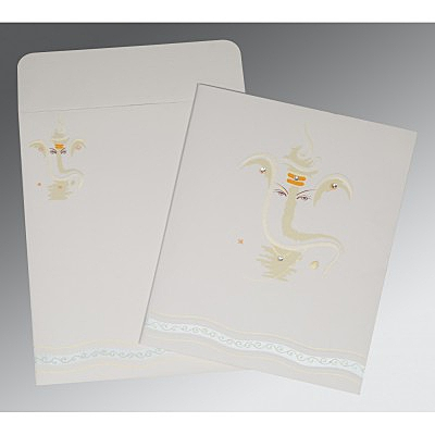 Ivory Matte Embossed Wedding Invitations : AW-2169 - A2zWeddingCards