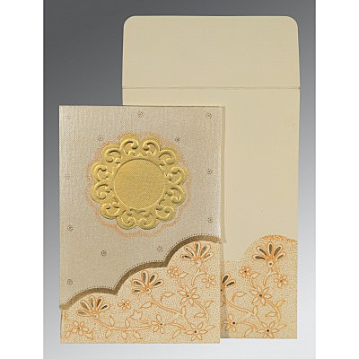 Ivory Matte Floral Themed - Screen Printed Wedding Card : AG-1183 - A2zWeddingCards