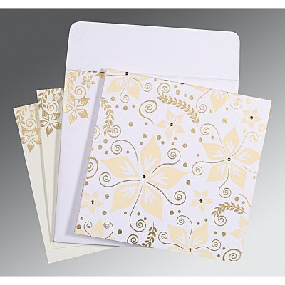 Ivory Matte Floral Themed - Screen Printed Wedding Invitation : AG-8240D - IndianWeddingCards