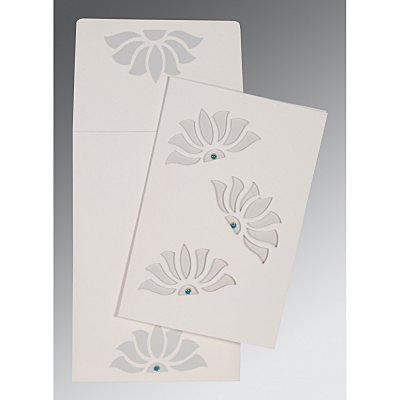 Ivory Matte Floral Themed - Screen Printed Wedding Invitations : ARU-1254 - A2zWeddingCards
