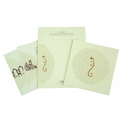 Ivory Matte Foil Stamped Wedding Invitation : AW-2297