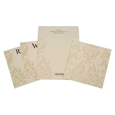 Ivory Matte Screen Printed Wedding Card : AIN-1739