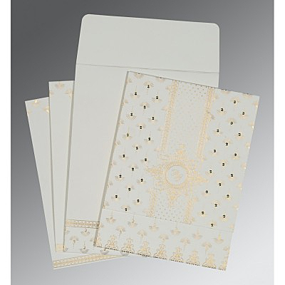 Ivory Matte Screen Printed Wedding Invitation : ASO-8247M - IndianWeddingCards