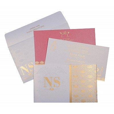 Ivory Shimmery Damask Themed - Screen Printed Wedding Invitation : AD-8261F - IndianWeddingCards
