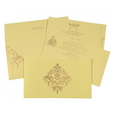Ivory Shimmery Damask Themed - Screen Printed Wedding Card : AG-8257B - IndianWeddingCards