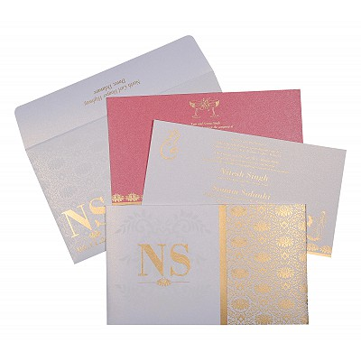 Ivory Shimmery Damask Themed - Screen Printed Wedding Invitation : ASO-8261F - IndianWeddingCards