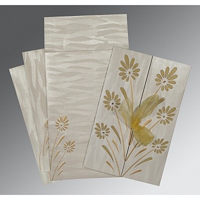 Ivory Shimmery Floral Themed - Embossed Wedding Card : AIN-1372