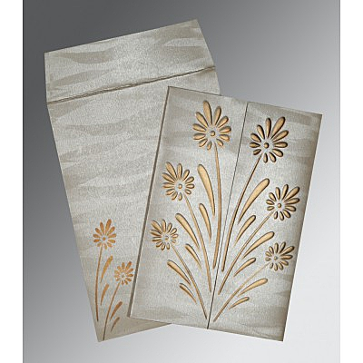 Ivory Shimmery Floral Themed - Embossed Wedding Card : AIN-1378