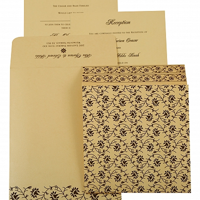Ivory Shimmery Floral Themed - Screen Printed Wedding Invitation : AIN-822B