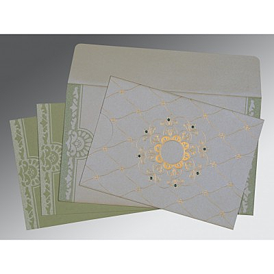 Ivory Shimmery Floral Themed - Screen Printed Wedding Card : AC-8227J - IndianWeddingCards