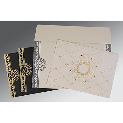 Ivory Shimmery Floral Themed - Screen Printed Wedding Card : AD-8227A - IndianWeddingCards