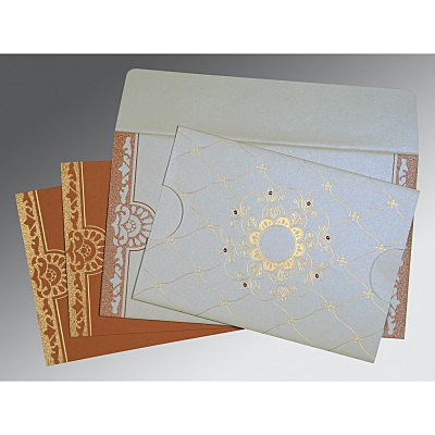 Ivory Shimmery Floral Themed - Screen Printed Wedding Card : AD-8227H - IndianWeddingCards