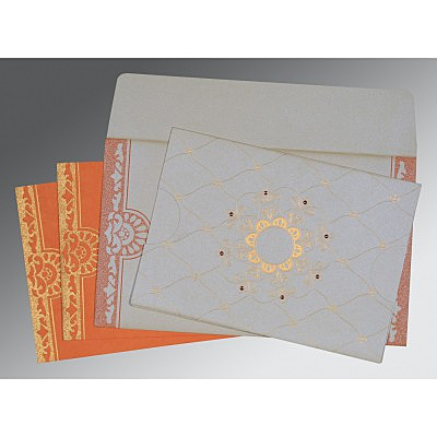 Ivory Shimmery Floral Themed - Screen Printed Wedding Card : AD-8227N - IndianWeddingCards