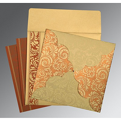Ivory Shimmery Floral Themed - Screen Printed Wedding Invitations : AD-8235H - A2zWeddingCards