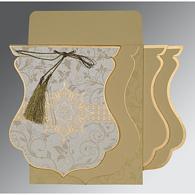 Ivory Shimmery Floral Themed - Screen Printed Wedding Card : AG-8229E - IndianWeddingCards