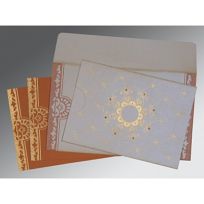 Ivory Shimmery Floral Themed - Screen Printed Wedding Card : ARU-8227L - A2zWeddingCards