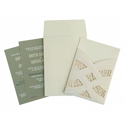 Ivory Shimmery Laser Cut Wedding Card : AC-1590 - A2zWeddingCards