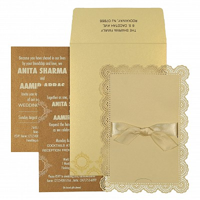 Ivory Shimmery Laser Cut Wedding Invitation : AIN-1588
