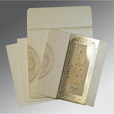 Ivory Shimmery Paisley Themed - Foil Stamped Wedding Invitation : AC-8230O - IndianWeddingCards