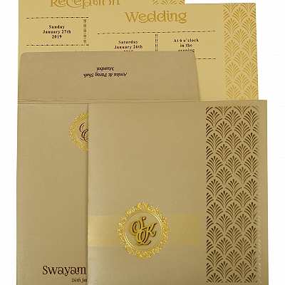 Ivory Shimmery Paisley Themed - Laser Cut Wedding Invitation : AIN-1929