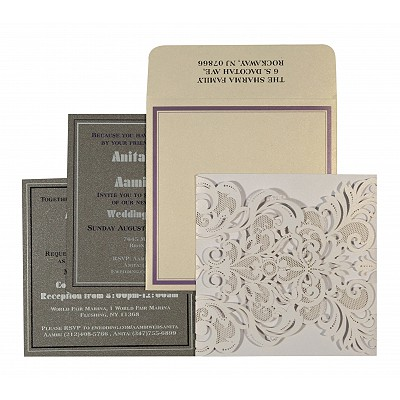 Ivory Shimmery Paisley Themed - Laser Cut Wedding Invitation : AIN-1592