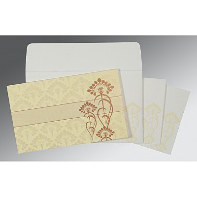 Ivory Shimmery Screen Printed Wedding Card : AC-8239I - IndianWeddingCards