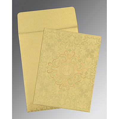 Ivory Shimmery Screen Printed Wedding Card : AC-8244J - IndianWeddingCards