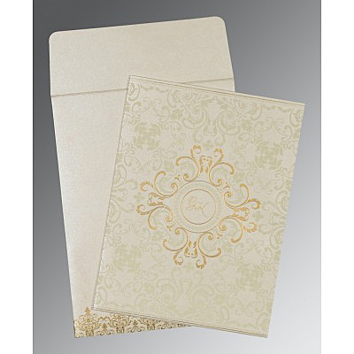 Ivory Shimmery Screen Printed Wedding Card : AD-8244B - IndianWeddingCards