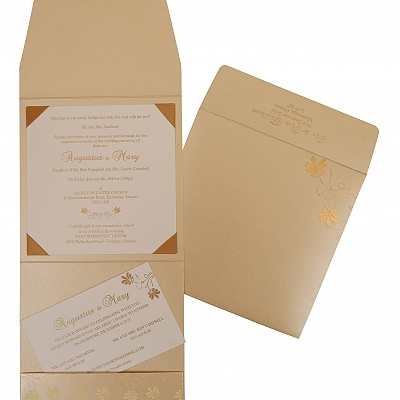 Ivory Shimmery Screen Printed Wedding Invitation : AG-803E - A2zWeddingCards