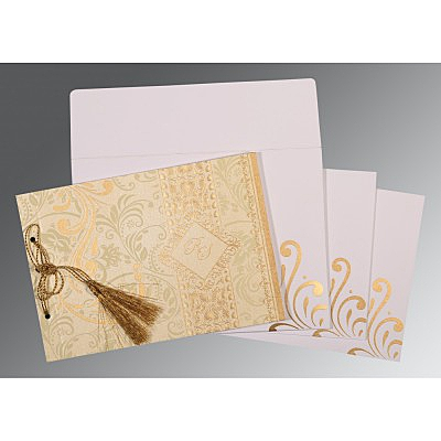 Ivory Shimmery Screen Printed Wedding Card : AG-8223L - IndianWeddingCards