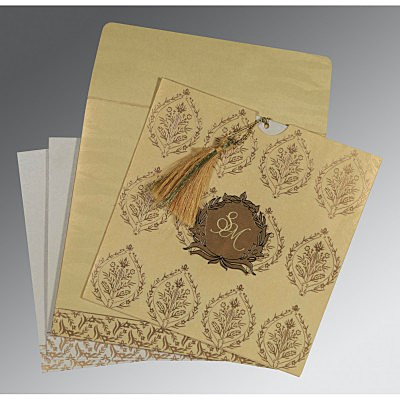 Ivory Shimmery Unique Themed - Foil Stamped Wedding Card : AC-8249G - IndianWeddingCards