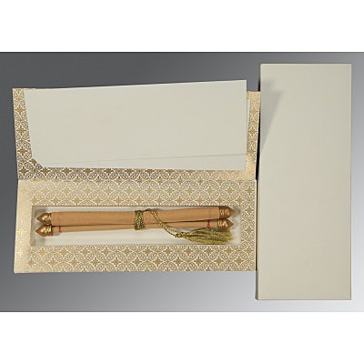 Ivory Velvet Wedding Invitations : ASC-5008C - A2zWeddingCards