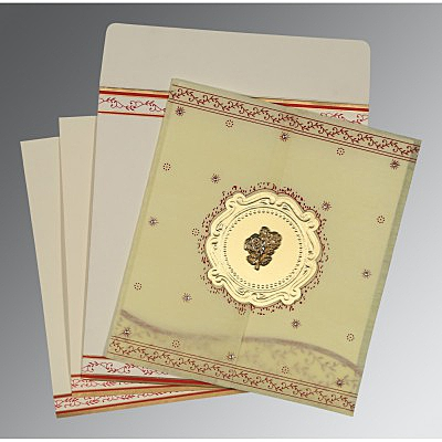 Ivory Wooly Embossed Wedding Invitations : AC-8202E - A2zWeddingCards