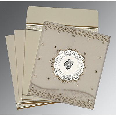 Ivory Wooly Embossed Wedding Invitations : AC-8202O - A2zWeddingCards