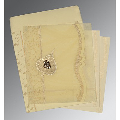 Ivory Wooly Embossed Wedding Card : AC-8210C - IndianWeddingCards