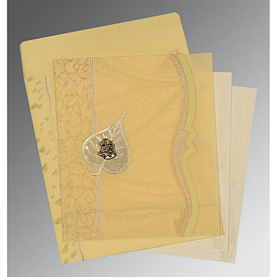 Ivory Wooly Embossed Wedding Card : AC-8210G - IndianWeddingCards