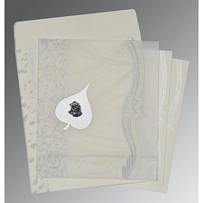 Ivory Wooly Embossed Wedding Card : AC-8210J - IndianWeddingCards
