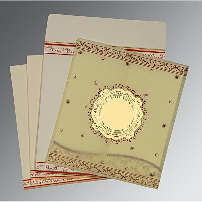Ivory Wooly Embossed Wedding Invitation : AD-8202E - IndianWeddingCards
